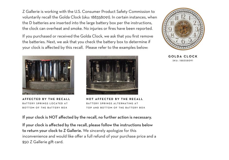 Safety Recall Notice Golda Clock